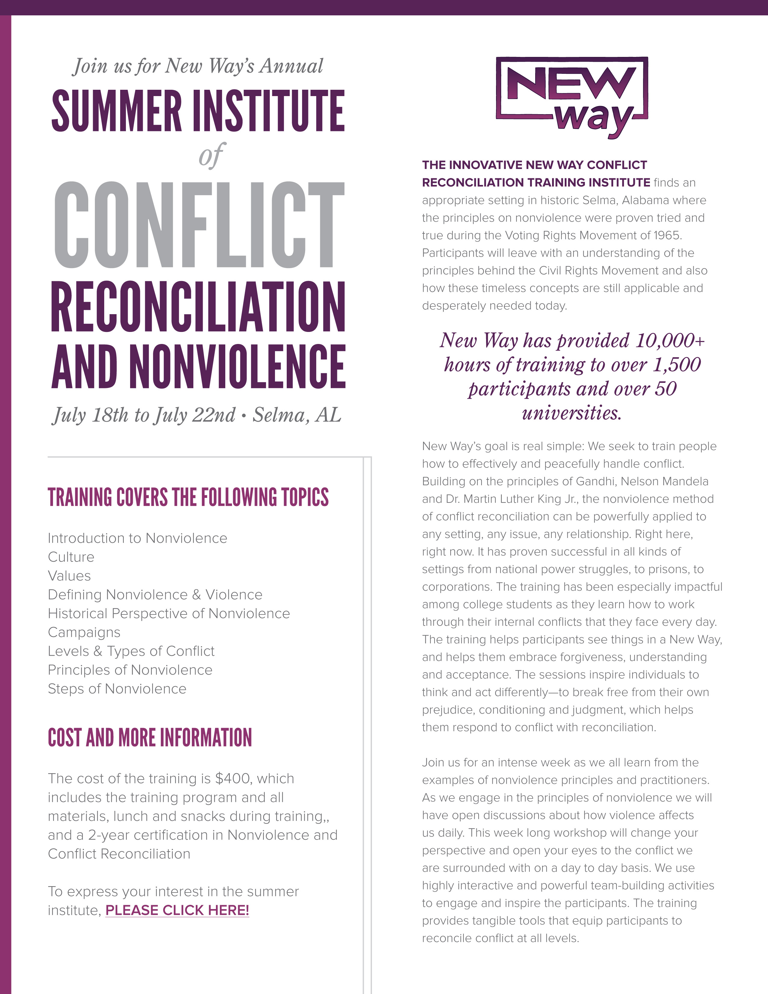 New Way, Nonviolence Training, Conflict Reconciliation, Selma, Summer Institute